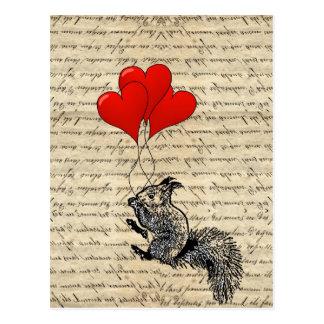 Cartão Postal Balões do esquilo e do coração
