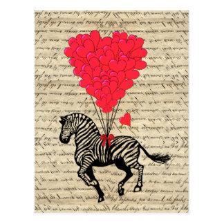 Cartão Postal Balões engraçados da zebra & do coração do vintage