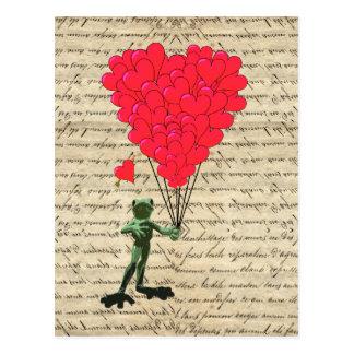Cartão Postal Balões engraçados do sapo e do coração