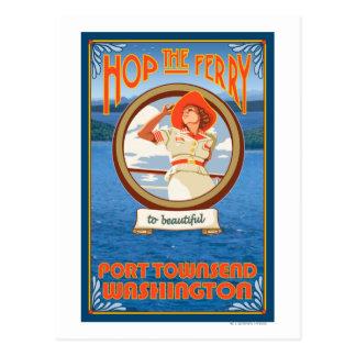 Cartão Postal Balsa da equitação da mulher - porto Townsend