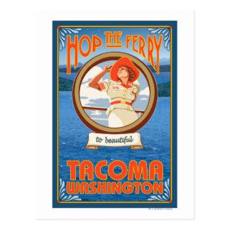 Cartão Postal Balsa da equitação da mulher - Tacoma, Washington