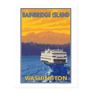 Cartão Postal Balsa e montanhas - ilha de Bainbridge, WA