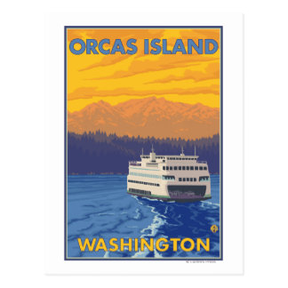 Cartão Postal Balsa e montanhas - orcas ilha, Washington
