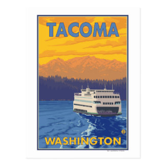 Cartão Postal Balsa e montanhas - Tacoma, Washington