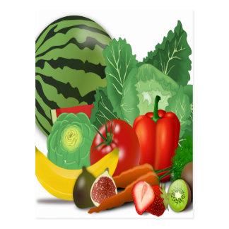 Cartão Postal banana da alcachofra dos vegetais de frutas