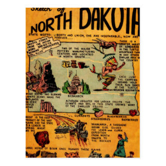 Cartão Postal Banda desenhada de North Dakota