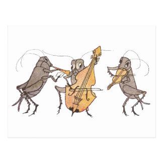 Cartão Postal Banda do grilo com chifre, violoncelo & violino