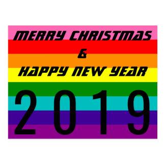Cartão Postal Bandeira 2019 do arco-íris do feliz ano novo do