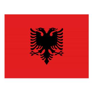 Cartão Postal Bandeira albanesa com águia dois-dirigida