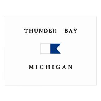 Cartão Postal Bandeira alfa do mergulho do Lago Huron Michigan