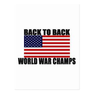 Cartão Postal Bandeira americana de volta aos campeões traseiros