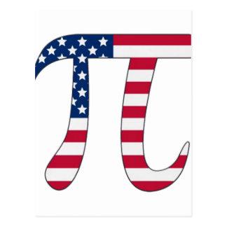 Cartão Postal Bandeira americana do dia do Pi, símbolo do pi