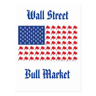 Cartão Postal Bandeira americana do mercado em alta de Wall