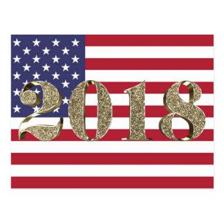 Cartão Postal Bandeira americana patriótica dourada do feliz ano