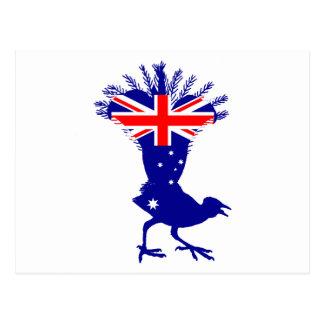 Cartão Postal Bandeira australiana - Lyrebird