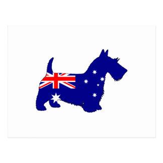Cartão Postal Bandeira australiana - Scottish Terrier