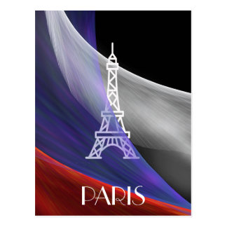 Cartão Postal Bandeira branca de vermelho azul de Paris da torre