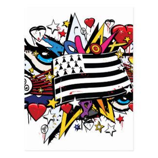 Cartão Postal Bandeira Bretanha Breizh graffiti Bretão graff