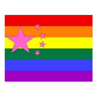 Cartão Postal Bandeira chinesa do orgulho de GLBT