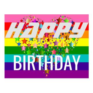 Cartão Postal Bandeira colorida do arco-íris do coração LGBT do