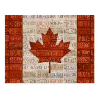 Cartão Postal Bandeira da arte da matrícula de Canadá