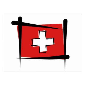 Cartão Postal Bandeira da escova da suiça