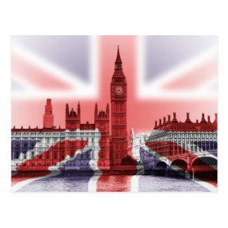 Cartão Postal Bandeira de Big Ben Londres e de Union Jack