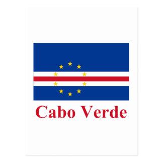 Cartão Postal Bandeira de Cabo Verde com nome no português