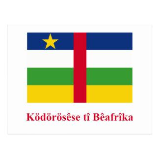 Cartão Postal Bandeira de Central African Republic com nome em