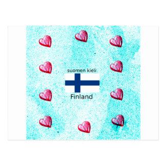 Cartão Postal Bandeira de Finlandia e design finlandês da língua