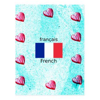 Cartão Postal Bandeira de France e design da língua francesa