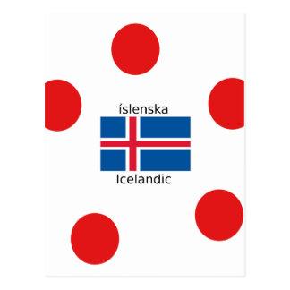 Cartão Postal Bandeira de Islândia e design islandês da língua