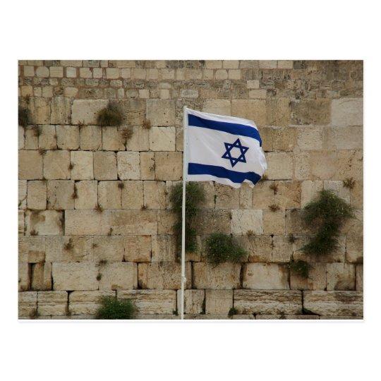 Cartão Postal Bandeira de Israel no Muro das Lamentações