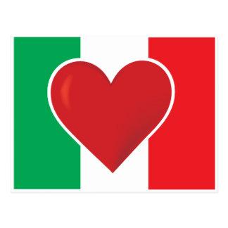 Cartão Postal Bandeira de Italia do coração