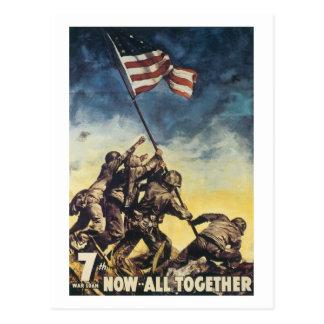 Cartão Postal Bandeira de Iwo Jima que levanta o vintage do