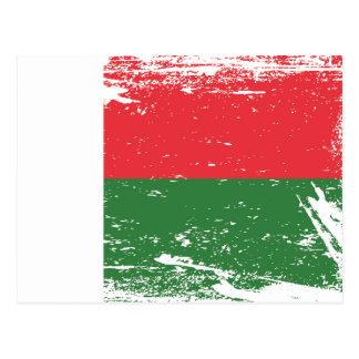 Cartão Postal Bandeira de Madagascar do Grunge