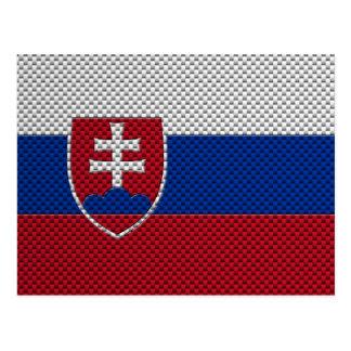 Cartão Postal Bandeira de Slovakia com efeito da fibra do