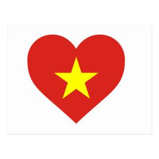 Cartão Postal Bandeira de Vietnam - vàng do sao do đỏ do amor
