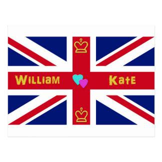 Cartão Postal Bandeira de William & de Kate Ingleses