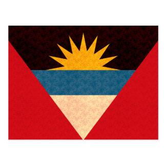 Cartão Postal Bandeira do Antiguan do teste padrão do vintage