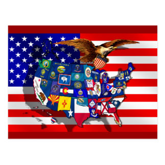 Cartão Postal Bandeira do estado dos EUA América