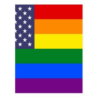 Cartão Postal Bandeira do orgulho do arco-íris dos E.U.
