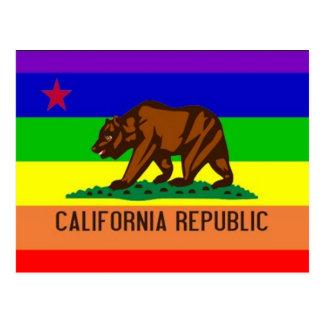 Cartão Postal Bandeira do orgulho gay de Califórnia