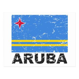 Cartão Postal Bandeira do vintage de Aruba