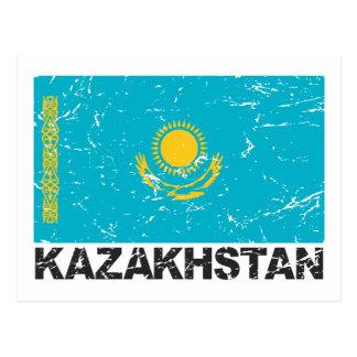 Cartão Postal Bandeira do vintage de Kazakhstan