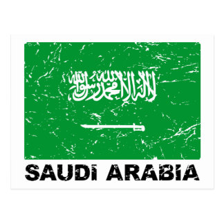 Cartão Postal Bandeira do vintage de Saudia Arábia