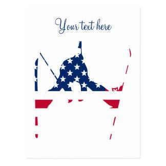 Cartão Postal Bandeira dos EUA do americano de esqui de América