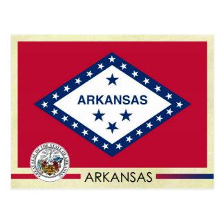 Cartão Postal Bandeira e selo do estado de Arkansas