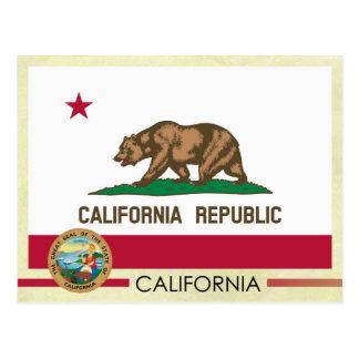 Cartão Postal Bandeira e selo do estado de Califórnia