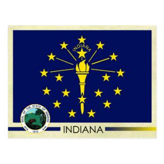 Cartão Postal Bandeira e selo do estado de Indiana